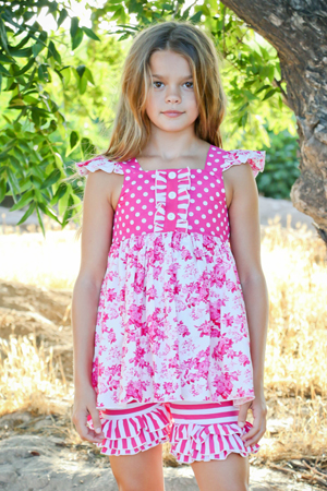Delicate Rose Tunic Top & Ruffle Shorts
